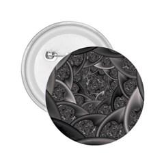 Fractal Black Ribbon Spirals 2 25  Buttons