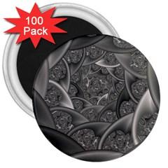 Fractal Black Ribbon Spirals 3  Magnets (100 pack)