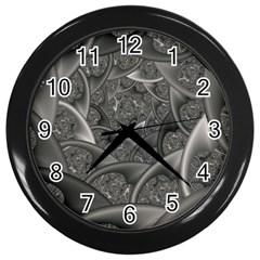 Fractal Black Ribbon Spirals Wall Clocks (Black)
