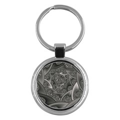 Fractal Black Ribbon Spirals Key Chains (round)