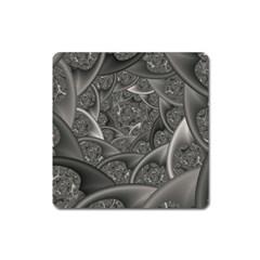 Fractal Black Ribbon Spirals Square Magnet