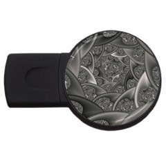 Fractal Black Ribbon Spirals Usb Flash Drive Round (2 Gb)