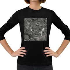 Fractal Black Ribbon Spirals Women s Long Sleeve Dark T-Shirts