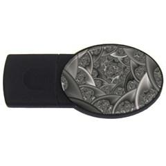 Fractal Black Ribbon Spirals USB Flash Drive Oval (4 GB)