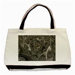Fractal Black Ribbon Spirals Basic Tote Bag