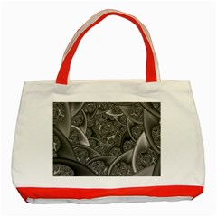 Fractal Black Ribbon Spirals Classic Tote Bag (Red)