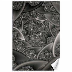 Fractal Black Ribbon Spirals Canvas 12  x 18