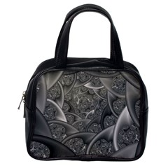 Fractal Black Ribbon Spirals Classic Handbags (One Side)