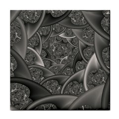 Fractal Black Ribbon Spirals Face Towel