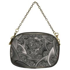 Fractal Black Ribbon Spirals Chain Purses (two Sides)