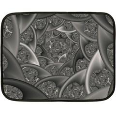 Fractal Black Ribbon Spirals Fleece Blanket (Mini)