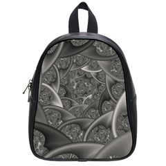 Fractal Black Ribbon Spirals School Bags (small)