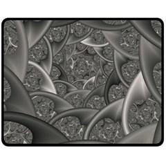 Fractal Black Ribbon Spirals Fleece Blanket (Medium)