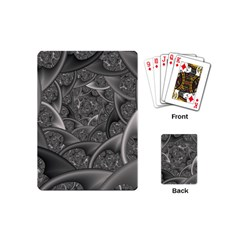Fractal Black Ribbon Spirals Playing Cards (mini)