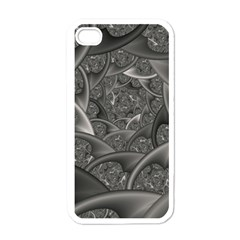Fractal Black Ribbon Spirals Apple iPhone 4 Case (White)