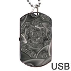 Fractal Black Ribbon Spirals Dog Tag USB Flash (Two Sides)