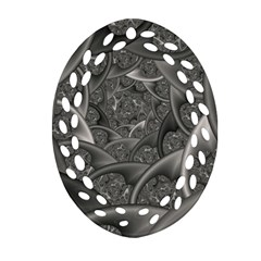 Fractal Black Ribbon Spirals Oval Filigree Ornament (Two Sides)