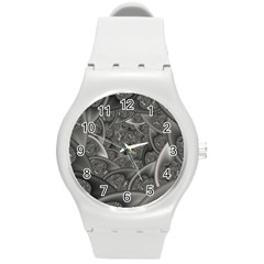 Fractal Black Ribbon Spirals Round Plastic Sport Watch (m)