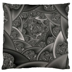 Fractal Black Ribbon Spirals Large Cushion Case (Two Sides)