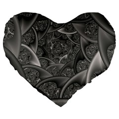 Fractal Black Ribbon Spirals Large 19  Premium Heart Shape Cushions