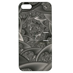Fractal Black Ribbon Spirals Apple iPhone 5 Hardshell Case with Stand