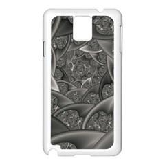 Fractal Black Ribbon Spirals Samsung Galaxy Note 3 N9005 Case (White)