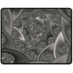 Fractal Black Ribbon Spirals Double Sided Fleece Blanket (Medium)