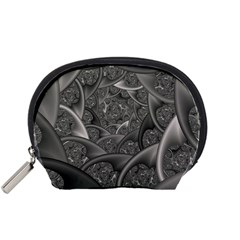 Fractal Black Ribbon Spirals Accessory Pouches (Small)