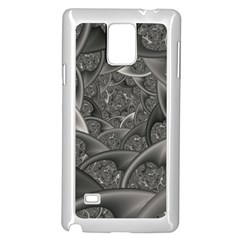 Fractal Black Ribbon Spirals Samsung Galaxy Note 4 Case (White)