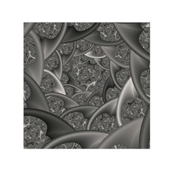 Fractal Black Ribbon Spirals Small Satin Scarf (Square)