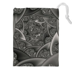 Fractal Black Ribbon Spirals Drawstring Pouches (xxl)