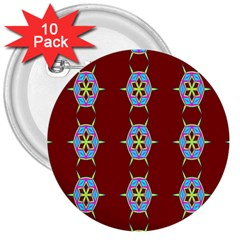 Geometric Seamless Pattern Digital Computer Graphic 3  Buttons (10 Pack)