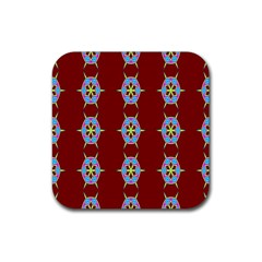 Geometric Seamless Pattern Digital Computer Graphic Rubber Square Coaster (4 Pack)