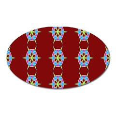 Geometric Seamless Pattern Digital Computer Graphic Oval Magnet