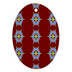 Geometric Seamless Pattern Digital Computer Graphic Oval Ornament (Two Sides)