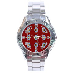 Geometric Seamless Pattern Digital Computer Graphic Stainless Steel Analogue Watch