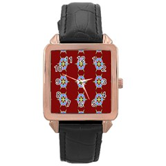 Geometric Seamless Pattern Digital Computer Graphic Rose Gold Leather Watch