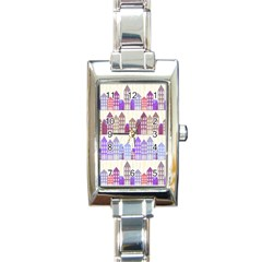 Houses City Pattern Rectangle Italian Charm Watch