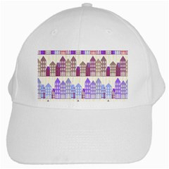 Houses City Pattern White Cap