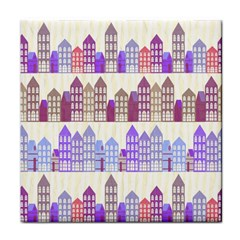 Houses City Pattern Tile Coasters