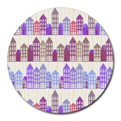 Houses City Pattern Round Mousepads