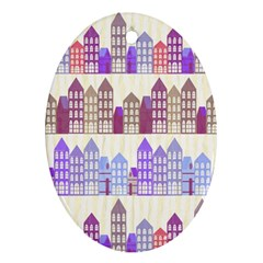 Houses City Pattern Ornament (Oval)