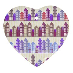Houses City Pattern Ornament (Heart)