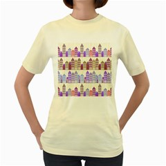 Houses City Pattern Women s Yellow T Shirt