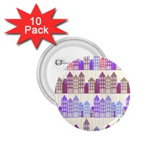 Houses City Pattern 1 75  Buttons (10 Pack)