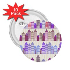 Houses City Pattern 2 25  Buttons (10 Pack)