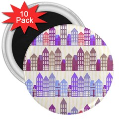 Houses City Pattern 3  Magnets (10 Pack)