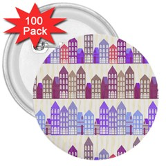 Houses City Pattern 3  Buttons (100 pack)