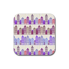 Houses City Pattern Rubber Square Coaster (4 pack)