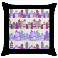Houses City Pattern Throw Pillow Case (black)